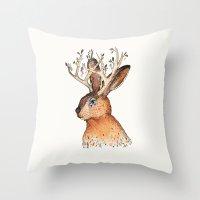 jackalope Throw Pillows featuring Jackalope by Sandra Dieckmann