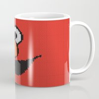 elmo Mugs featuring Knit Elmo by colli13designs