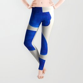 Minimalist Modern Mid Century Colorful Abstract Shapes Phthalo Blue Native Pebbles Stacked Leggings