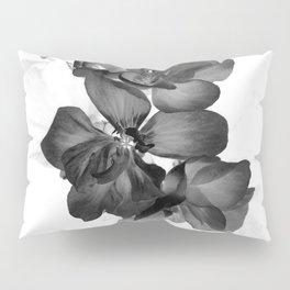 Black Geranium in White Pillow Sham
