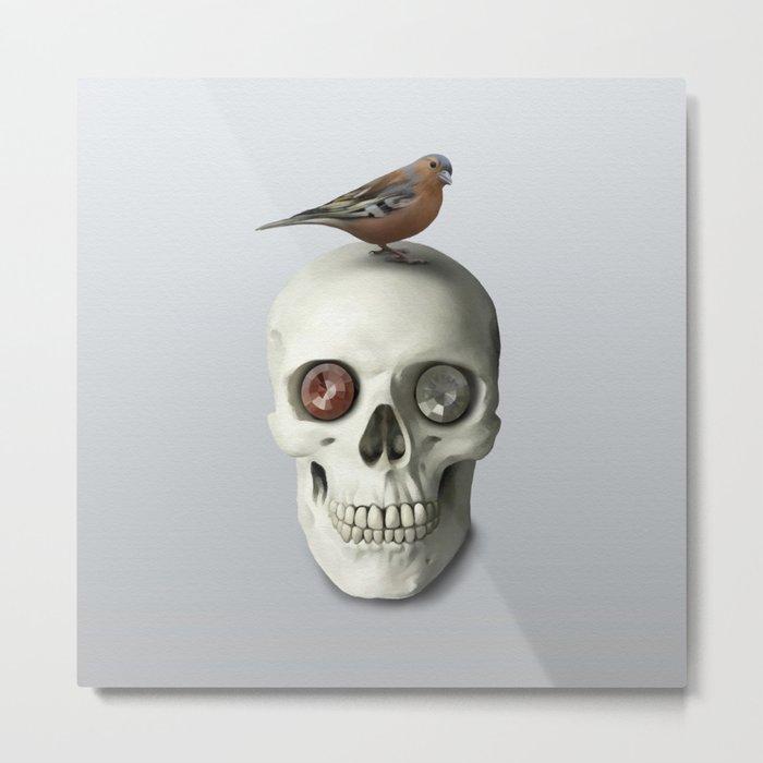 Skull & bird, watercolor Metal Print