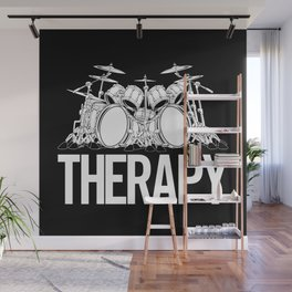 Drummers Therapy Drum Set Cartoon Illustration Wall Mural