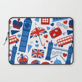 Fondo de patrón sin fisuras con hitos de Londres y símbolos de Gran Bretaña ilustración vectoria Laptop Sleeve