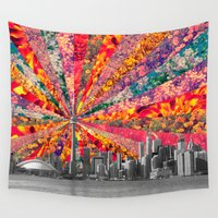 toronto Wall Tapestries featuring Blooming Toronto by Bianca Green