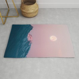 Moon and the Mountains – Landscape Photography Rug