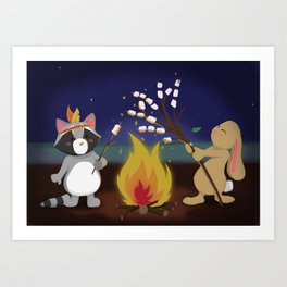 Cosy Campfie on the beach Art Print