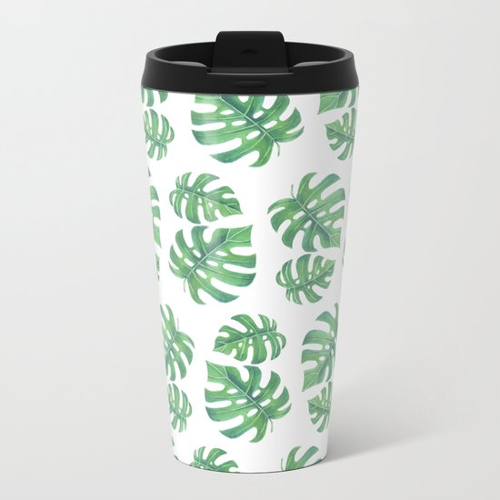 Tropical pattern with monstera leaves Metal Travel Mug
