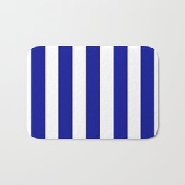 Cadmium blue - solid color - white vertical lines pattern Bath Mat