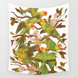 The extinction of the Carolina Parakeet. Wall Tapestry