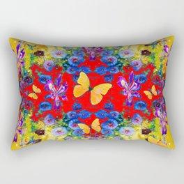 RED GARDEN  PURPLE FLOWERS YELLOW BUTTERFLIES Rectangular Pillow