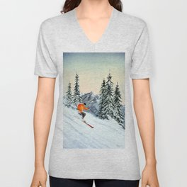 Skiing The Clear Leader Unisex V-Neck