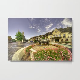 Market Place at Vimoutiers  Metal Print