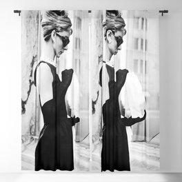 Audrey Hepburn Vintage Black and White Art Blackout Curtain