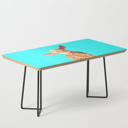 Baby Cow Turquoise Background Coffee Table