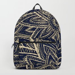 Cute Retro Gold abstract Flower Drawing  geometric Backpack