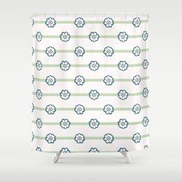 Tiny Daisy Polka Dot Flower Stripes Seamless Pattern Shower Curtain