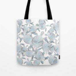 Silver Turtles Pattern Tote Bag