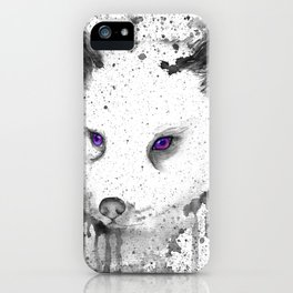 black and white : Fox iPhone Case