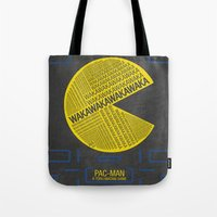 pac man Tote Bags featuring Pac-Man Typography by Kody Christian