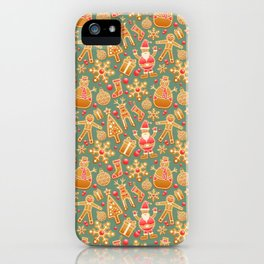 Christmas Green Gingerbread Man Pattern iPhone Case