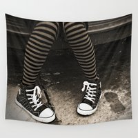 socks Wall Tapestries featuring Striped Socks & Sneakers by Sal4dian
