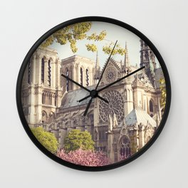 Paris, Notre Dame and the Cherrie Blossoms Wall Clock
