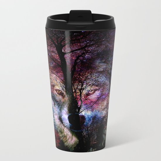 wolf in the forest Metal Travel Mug
