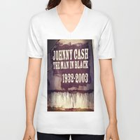 johnny cash V-neck T-shirts featuring Johnny Cash by Dan99