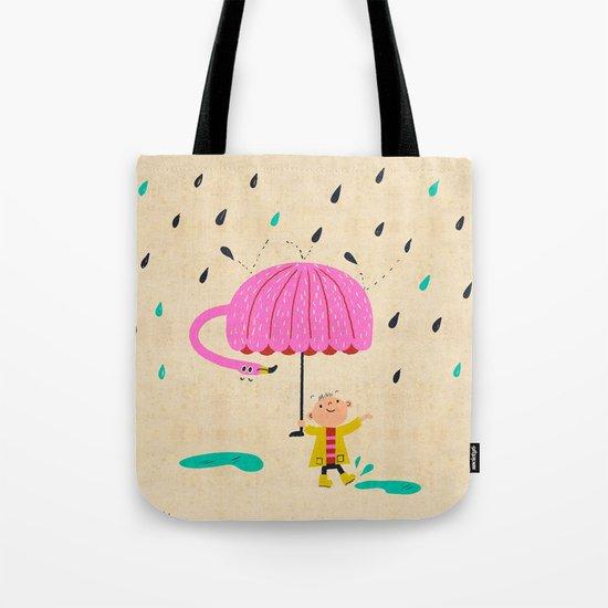 one of the many uses of a flamingo - umbrella Tote Bag