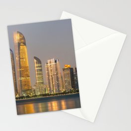 Abu Dhabi Seascape with skyscrapers in the background at evening Stationery Cards