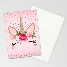 Pink & Gold Cute Floral Unicorn Stationery Cards