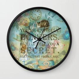 Wonderland - Bonkers Quote - Vintage Style Wall Clock