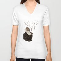 darwin V-neck T-shirts featuring Darwin ponders evolution by science fried art