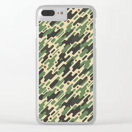 Modern Camouflage Green Forest Army Pattern Clear iPhone Case