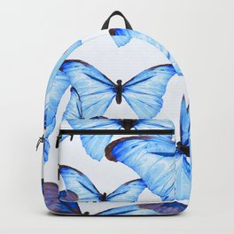 Butterflies Blue Wings White Background #decor #society6 #buyart Backpack