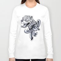 pit bull Long Sleeve T-shirts featuring Ornamental Pit Bull by Pretty In Ink