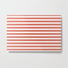 Pantone Living Coral Thick Horizontal Lines (Stripes) Metal Print