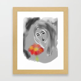 Girl with a red flower Framed Art Print