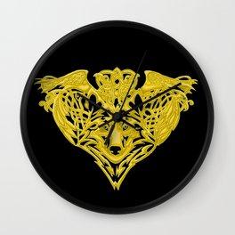 Wolf Raven Wall Clock