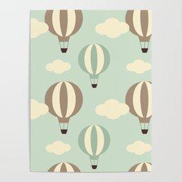 cute vintage hot air balloon pattern Poster