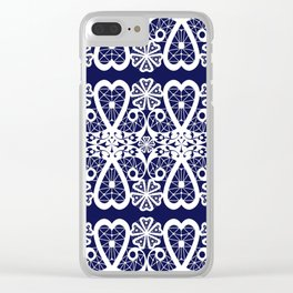Retro . Lace blue white pattern . White lace on blue background . Clear iPhone Case