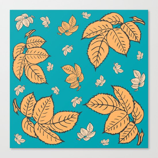 HAPPY LEAVES ON TURQUOISE (abstract tropical flowers) Canvas Print