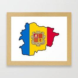 Andorra Map with Andorran Flag Framed Art Print