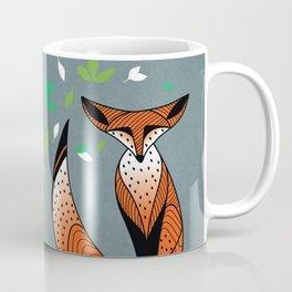 Dame Renard - Grey background with leaves Coffee Mug