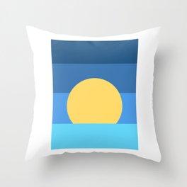 Sunset Over Waves | Blue Throw Pillow