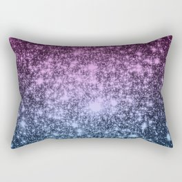 Galaxy Sparkle Stars Dark Mauve Steel Blue Rectangular Pillow
