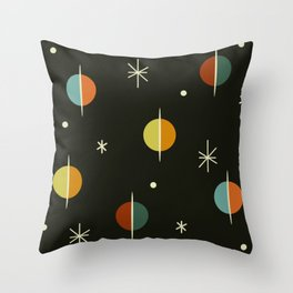 Mid Century Modern Abstract Spheres and Stars Dark Throw Pillow