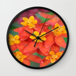 Succulent Red and Yellow Flower II Wall Clock