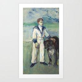 """Henri de Toulouse-Lautrec """"L'Enfant au chien, fils de Madame Marthe et la chienne Pamela-Taussat"""" Art Print"""