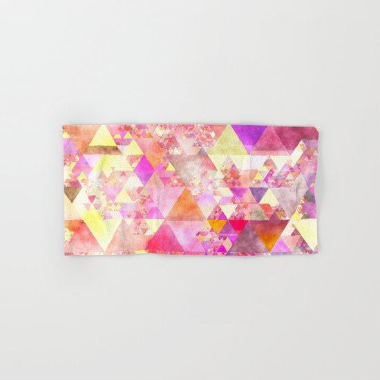 Abstract pink purple yellow -Colorful triangle pattern #Society6 Hand & Bath Towel